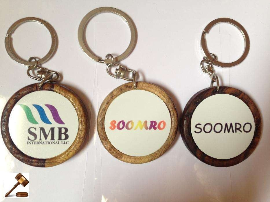 customized metal and wooden key chain two side color printing